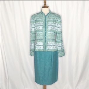 Vintage Adrianna Papell Green Silk Skirt Suit